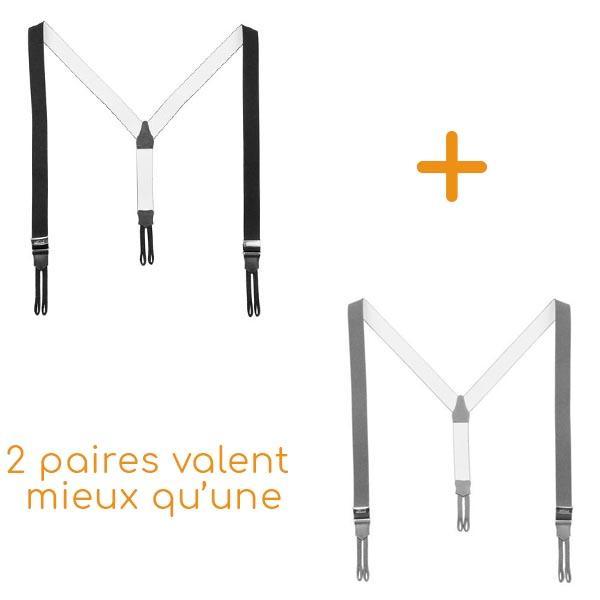 Lot de 2 paires de Bretelles Boutons Forme «Y» Noires + grises